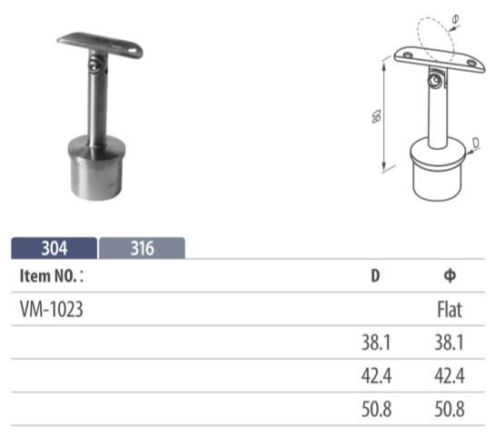 adjuable handrail saddle mounting on balustrading for tubular top rail