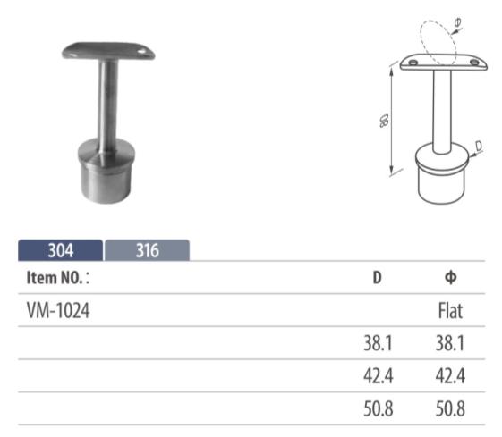 fixed handrail saddle mounting on balustrading for tubular top rail