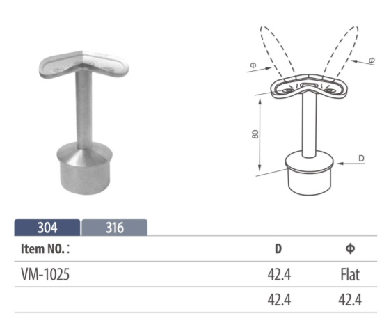 stainless steel handrail saddle with a 90 degree curved fixing mount, suitable for railing corners