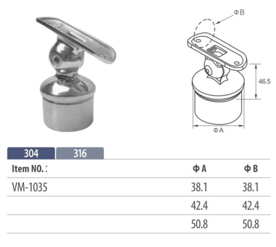 adjustable round handrail saddle mounting on balustrading for tubular top rail