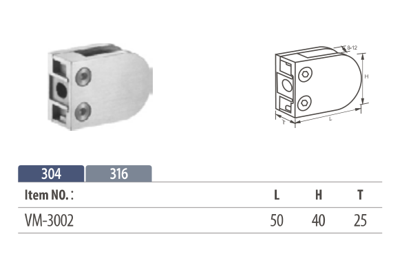 stainless d shape glass clamp mounting on flat surface up to 10mm glass thickness
