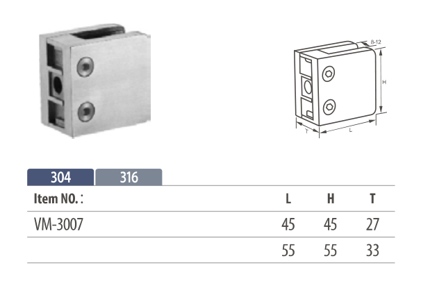 stainless square glass clamp mounting on flat surface up to 12mm glass thickness