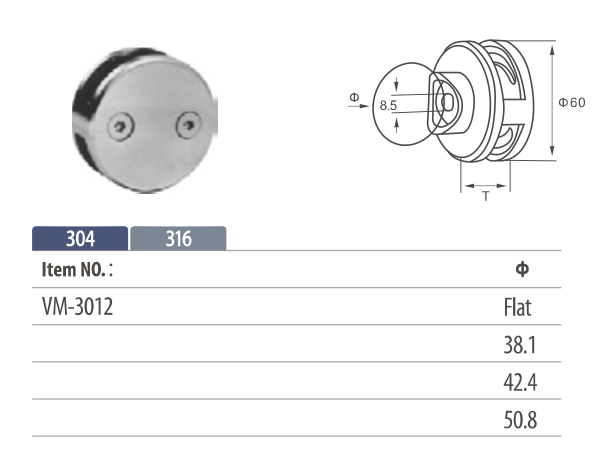 Stainless steel round shaped glass clamp for mounting onto flat surfaces and balustrade posts two ways