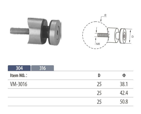 Stainless steel round shaped glass adapter for mounting onto balustrade