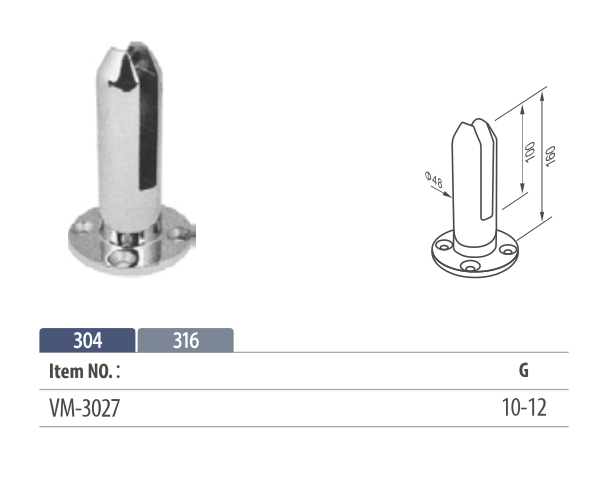 stainless steel round spigot glass clamp for 8 to 12mm glass