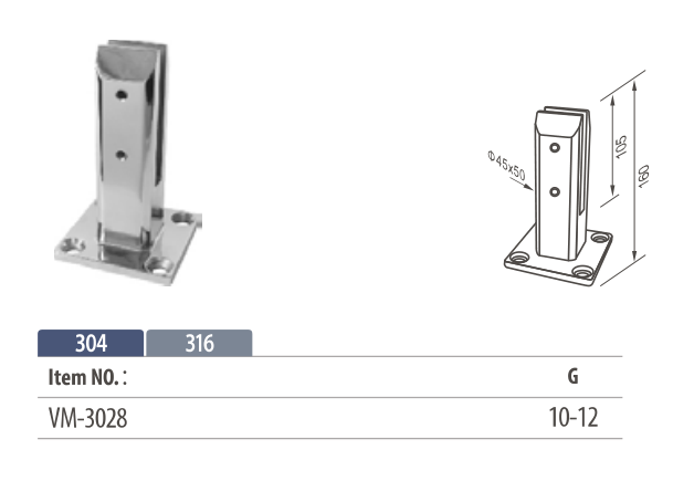 stainless steel square spigot glass clamp for 8 to 12mm glass