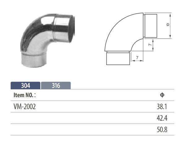 Stainless steel flush fitting round shape 90° corner tube connector for modular balustrading