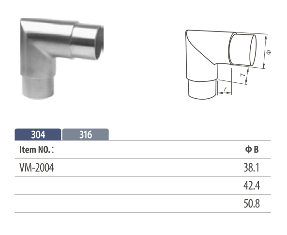 Stainless steel flush fitting 90° corner tube connector for modular balustrading
