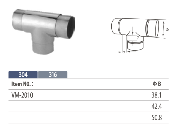 Stainless steel flush fitting tee shaped tube connector for modular handrail system
