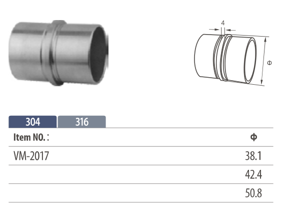 Stainless steel flush fitting in-line tube connector for modular railing