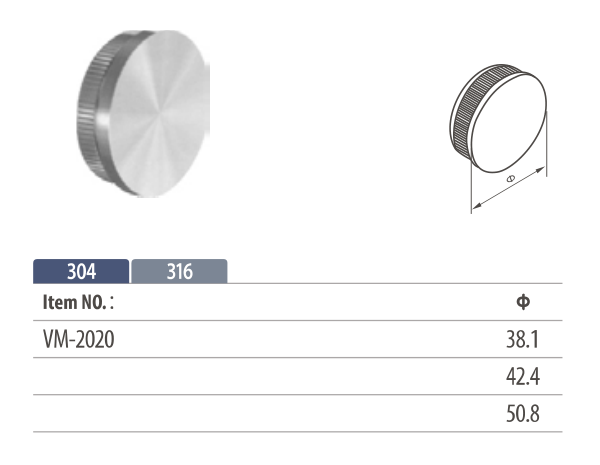 Flat stainless steel tube end cap for easy fitting to railing systems