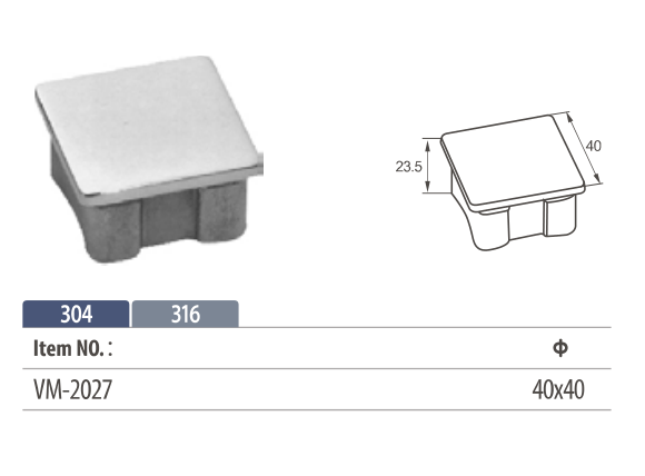 stainless steel tube end cap for square railing systems