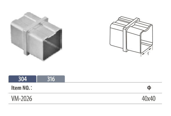 Stainless steel square flush fitting in-line tube connector for modular railing