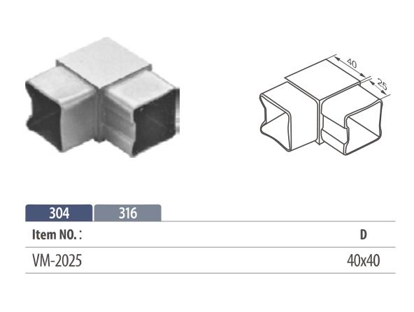Stainless steel flush fitting 90° corner tube connector for square modular balustrading
