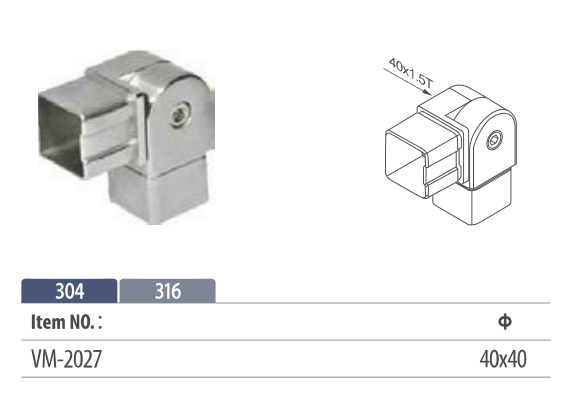 Stainless steel flush fitting adjustable angle tube connector for square modular handrail system