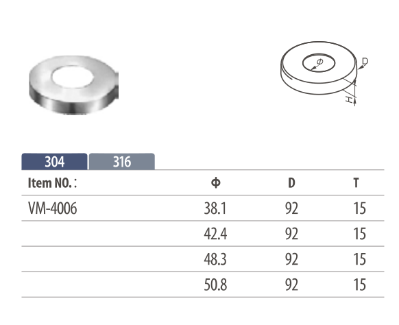 Stainless Steel Base Cover for Round Posts or round railing