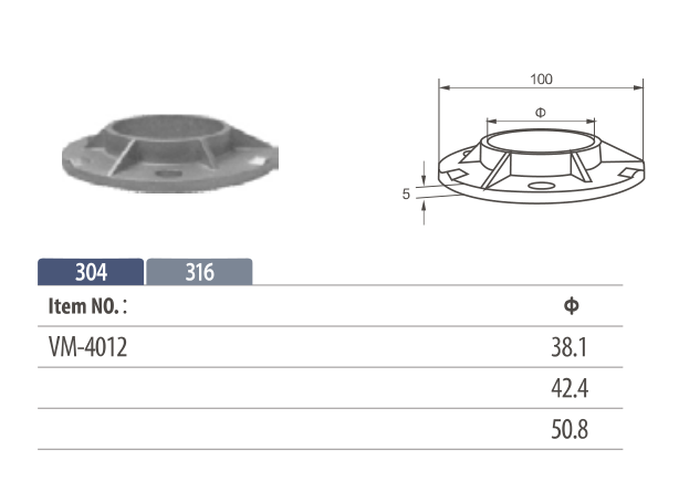 Stainless Steel welded round Flange for round posts railing or handrails
