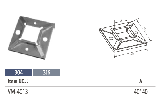 Stainless Steel welded square Flange for square posts railing or handrails
