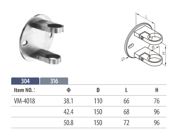 Stainless Steel side Mounting Bracket for round railing post