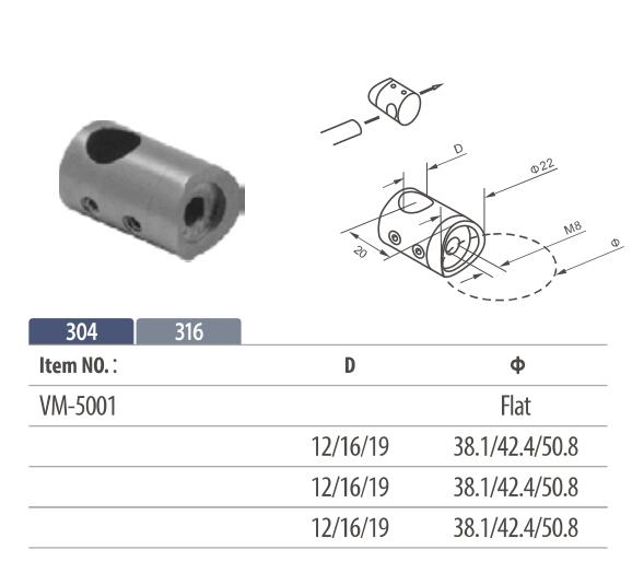 Stainless steel through hole cross bar holder tube fixing to bar mount for modular railing