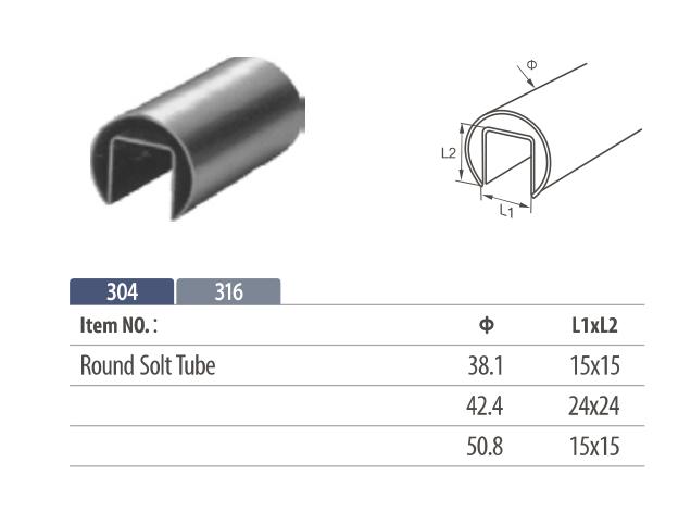 Stainless Steel slot Round Handrail for frameless glass railing