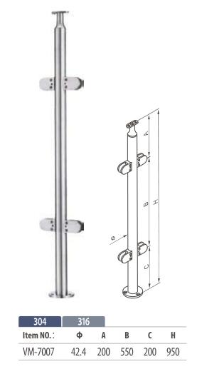 floor mount round balustrade post for modular glass railing system