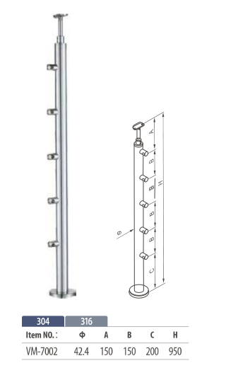 floor mount round balustrade post with 5 cross bar for modular railing system