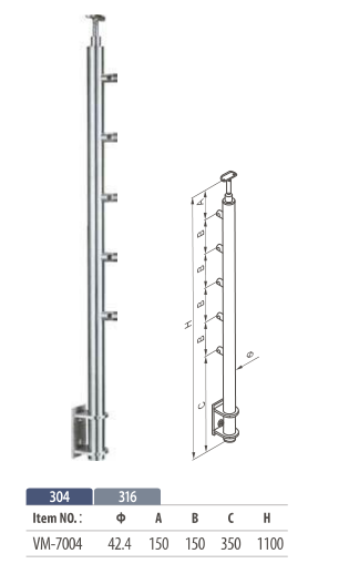 side mount round balustrade post with 5 cross bar for modular railing system