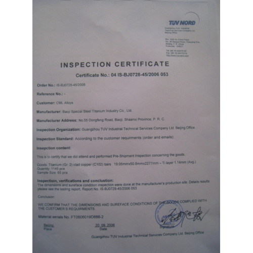 TUV NORD INSPECTION CERTIFICATE