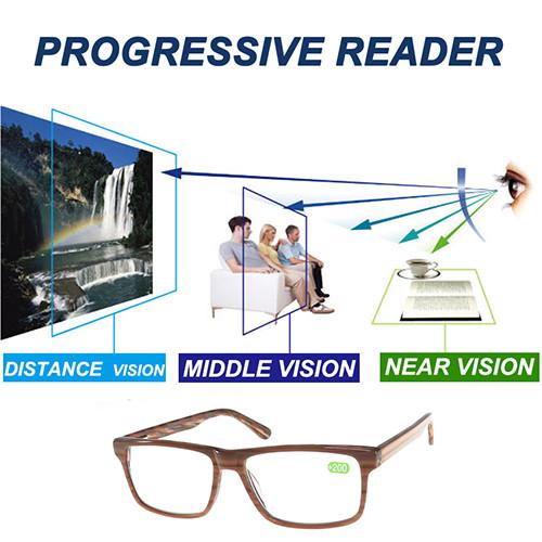 Acetate reading glasses of progressice lens