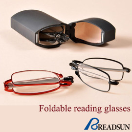 Metal folding reading glasses with case