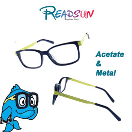 Teenager acetate optical frame with metal temple