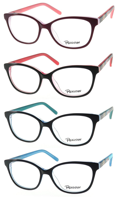Teenager acetate optical frame with colorful temple
