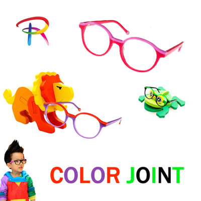 Teenager acetate optical frame with  color joint