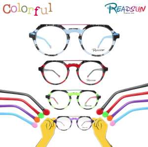 2018 Double bar vintage acetate frames for teenager,fashion optic glasses