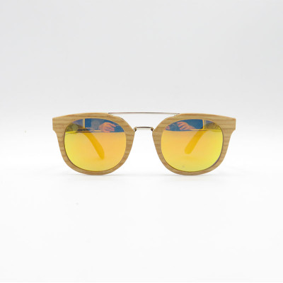 Fashion wood double bridge sunglasses with metal spring hinge