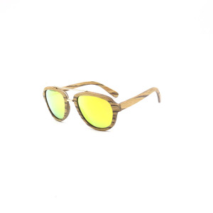 Fashion wood double bridge sunglasses with metal spring hinge
