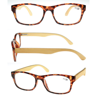 Fashion unisex plastic frame wood reading glasses with metal spring hinge