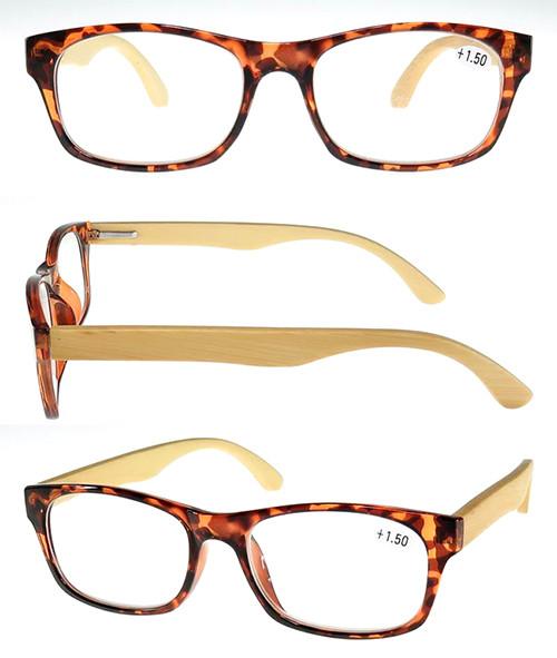 Fashion unisex plastic frame wood reading glasses with metal spring hinge