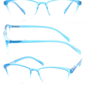 2018 Reasun CHEAP plastic transparent blue reading glasses with metal spring hinge