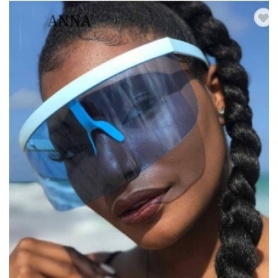 Sexy Oversized Shield Visor New Designer Big Frame Mirror Sun Glasses Shades Women Men Windproof Sunglasses