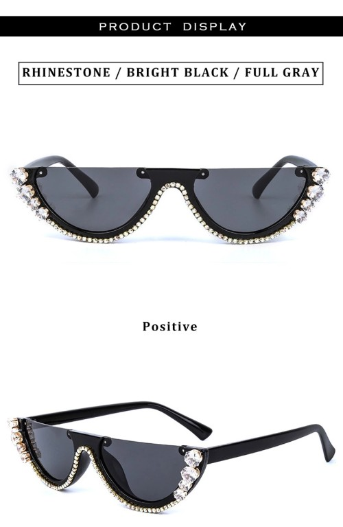 2020 High Quality Brand Designer Custom UV400 Fashion Women Half Frame Gafas De Sol Diamond Bling Sunglasses