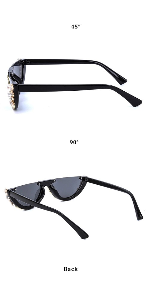2020 High Quality Brand Designer Custom UV400 Fashion Women Half Frame Gafas De Sol Diamond Bling Sunglasses