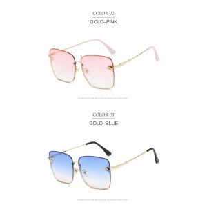 Square Cute Bee Design Mirror Womens Fashionable Sunglasses Trendy