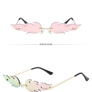 2020 Fashion Fire Flame Custom Logo Women Rimless Trendy Sunglasses