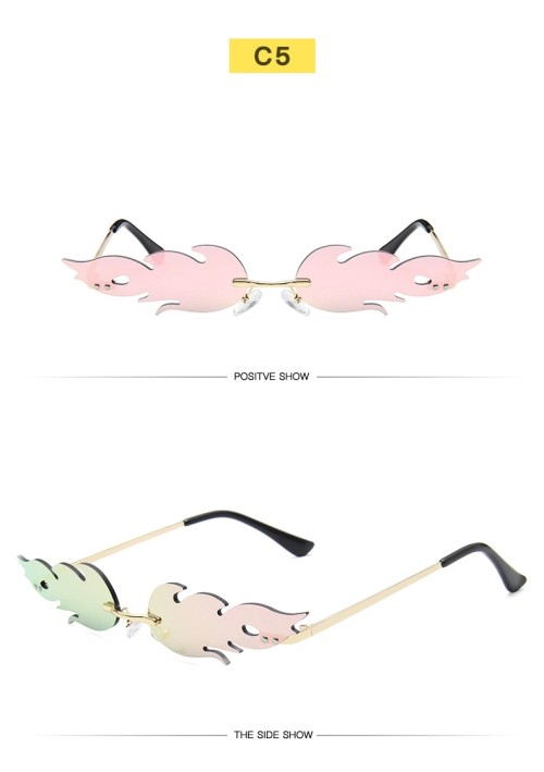 2020 Fashion Fire Flame Custom Logo Women Rimless Trendy Sunglasses