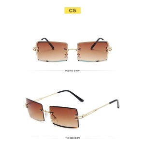 New Trendy Small Size Rectangle Frameless Women Men Ocean Lens Metal Sunglasses