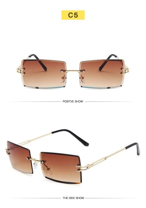 New Trendy Small Size Rectangle Frameless Women Men Ocean Lens Metal Sunglasses