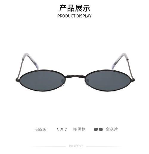 Oval Brand Black Red Metal Color Fashion Designer Lunette Small Framed Vintage Retro Sunglasses