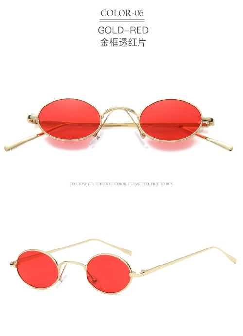 Vintage Brand Shades Black Red Metal Retro Small Round Lens Sunglasses for Women